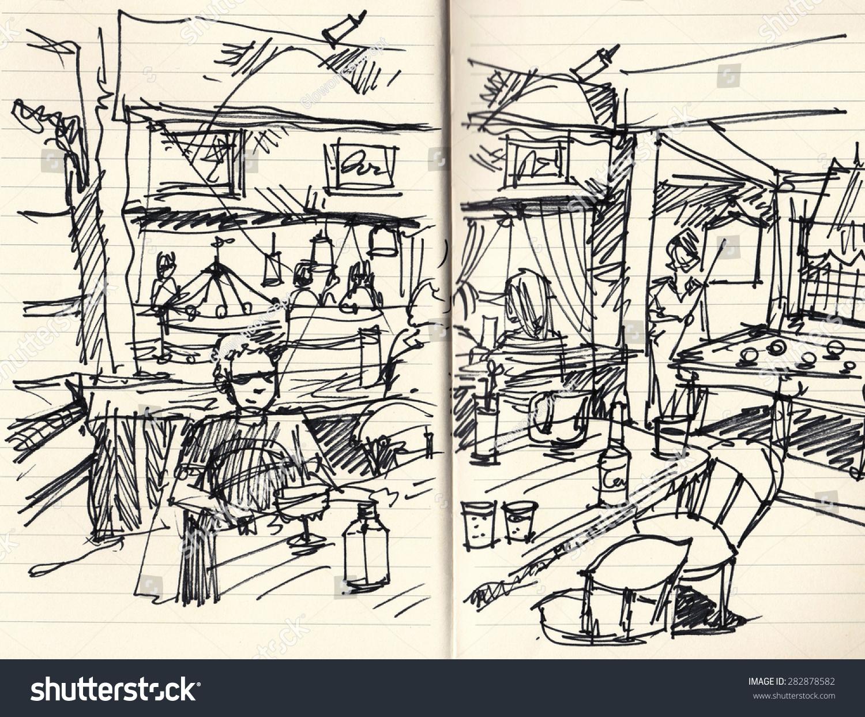人与现场音乐酒吧手画插图图片