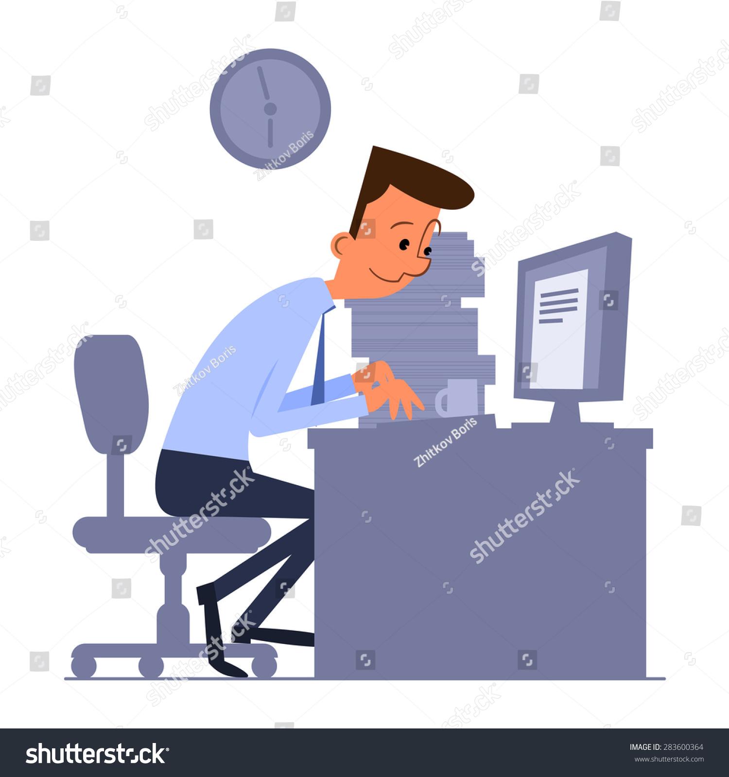卡通办公室工作人员坐在电脑上打字-商业/金融,人物