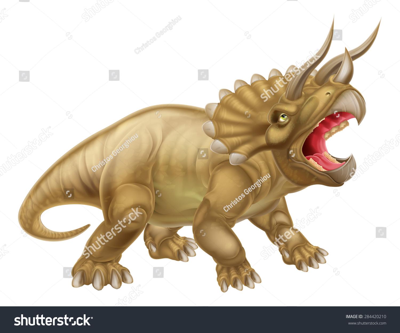 三角龙三个角恐龙插图-动物/野生生物