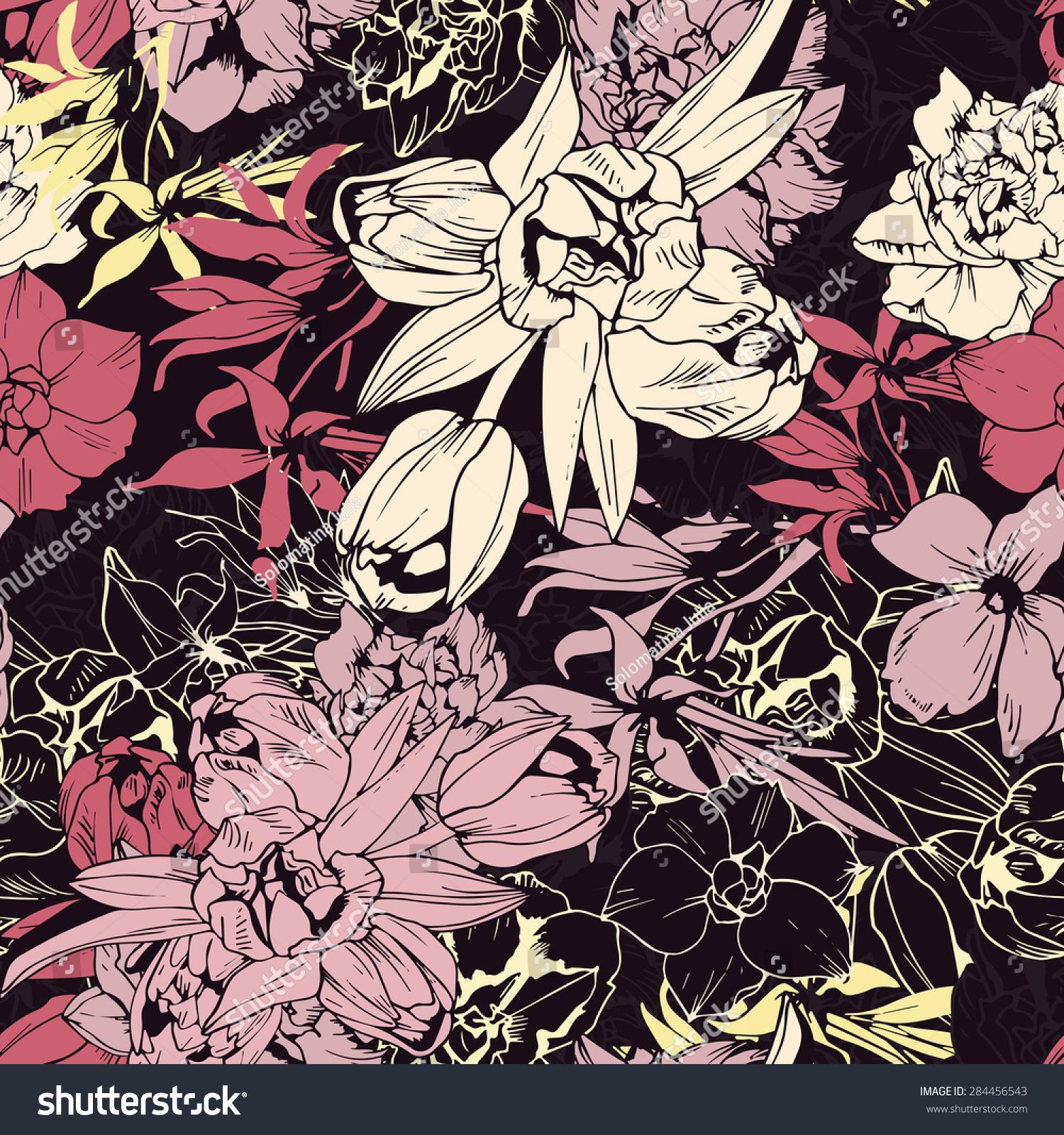 无缝彩色图案,春花,深色-背景/素材,公园/户外-海洛()