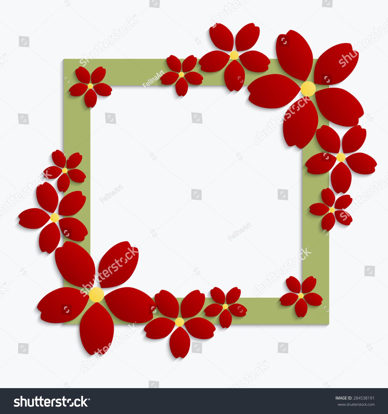 绿化装饰边框用红纸剪纸花.白色背景的三维纸张组成