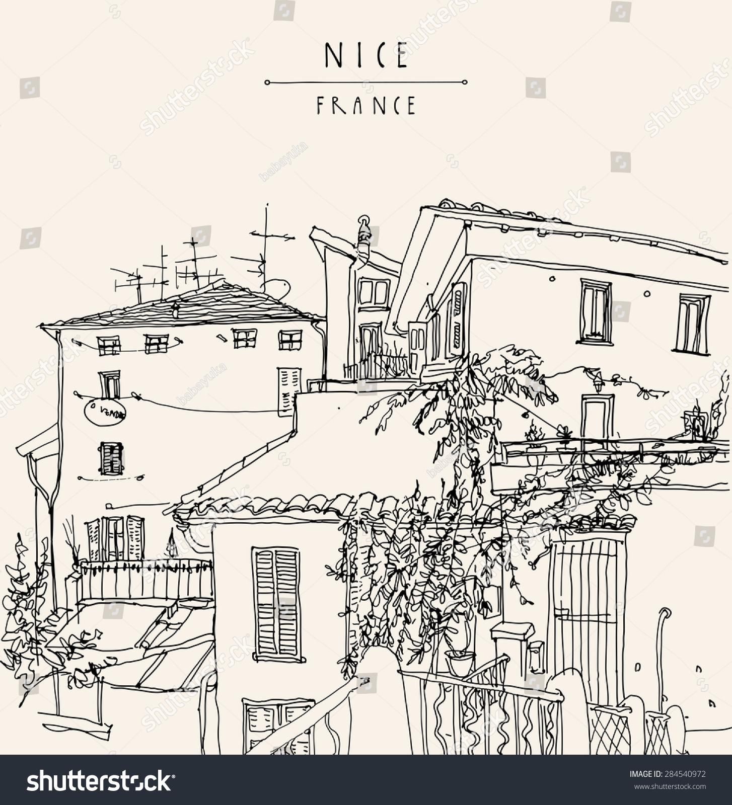 法国著名建筑物 手绘轮廓