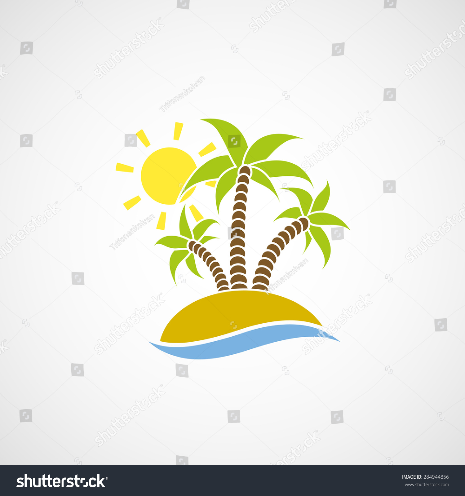 标志与棕榈树海滩,大海和太阳.