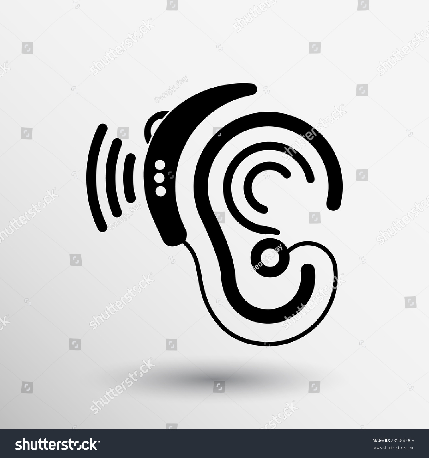 耳朵矢量图标助听器耳朵听声音图形.-医疗保健,符号