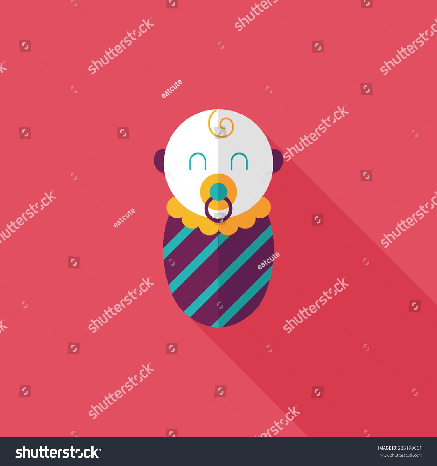 婴儿平图标与长长的阴影-背景/素材-海洛创意(hellorf