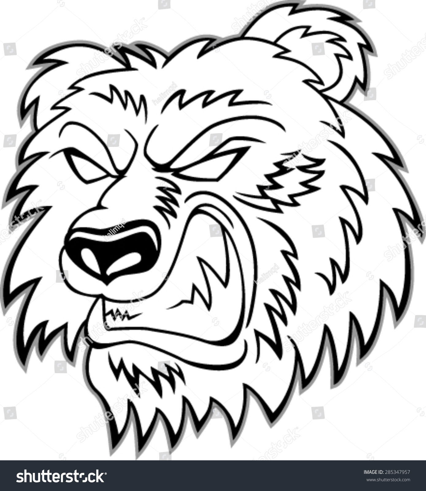 愤怒的熊头的吉祥物,矢量插图-动物/野生生物