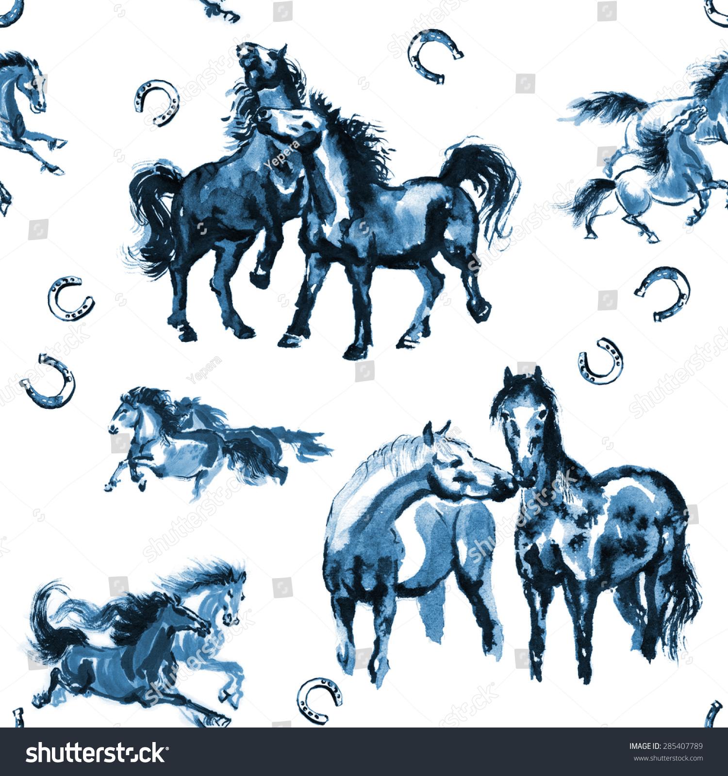 打马和马蹄铁无缝背景纹理,色调以蓝色东方水墨画.