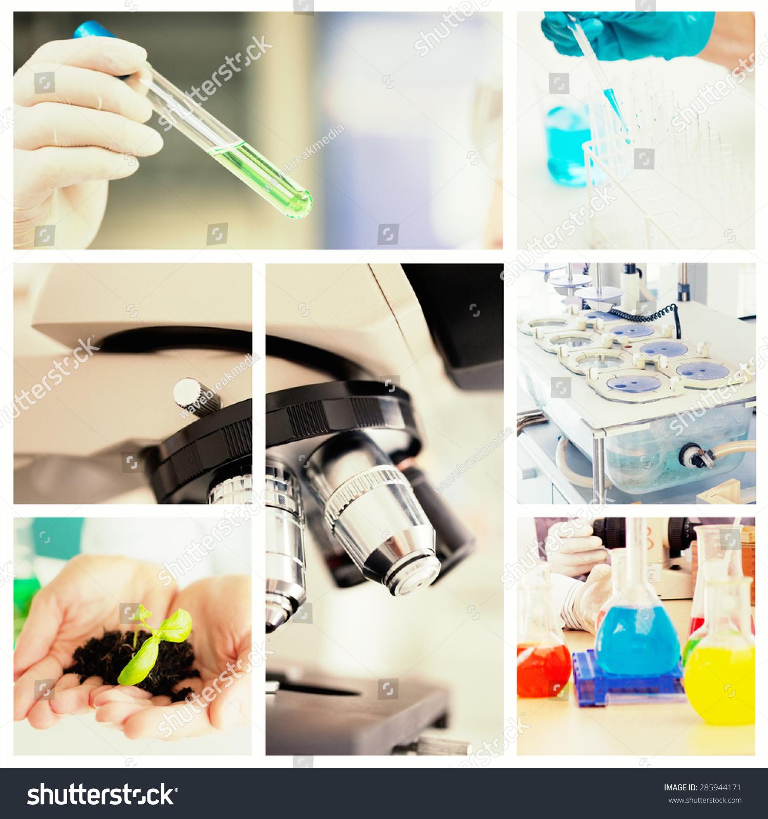 近距离的显微镜对科学家在实验室工作-背景/素材,人物