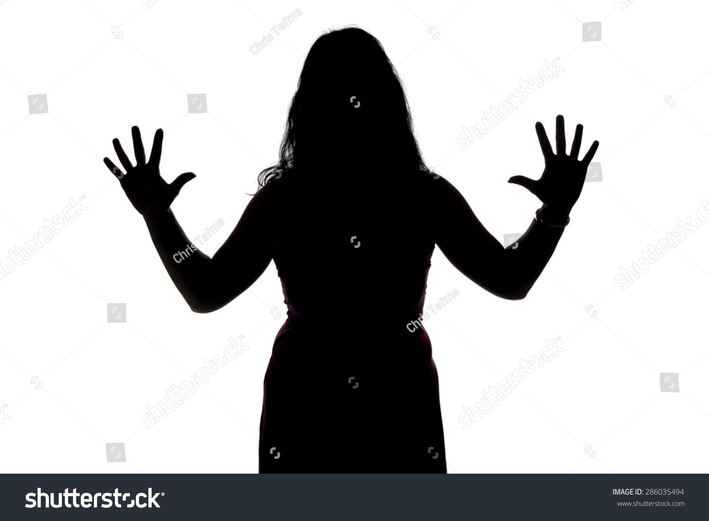 照片的女人张开手在白色背景的剪影-人物,美容/时装