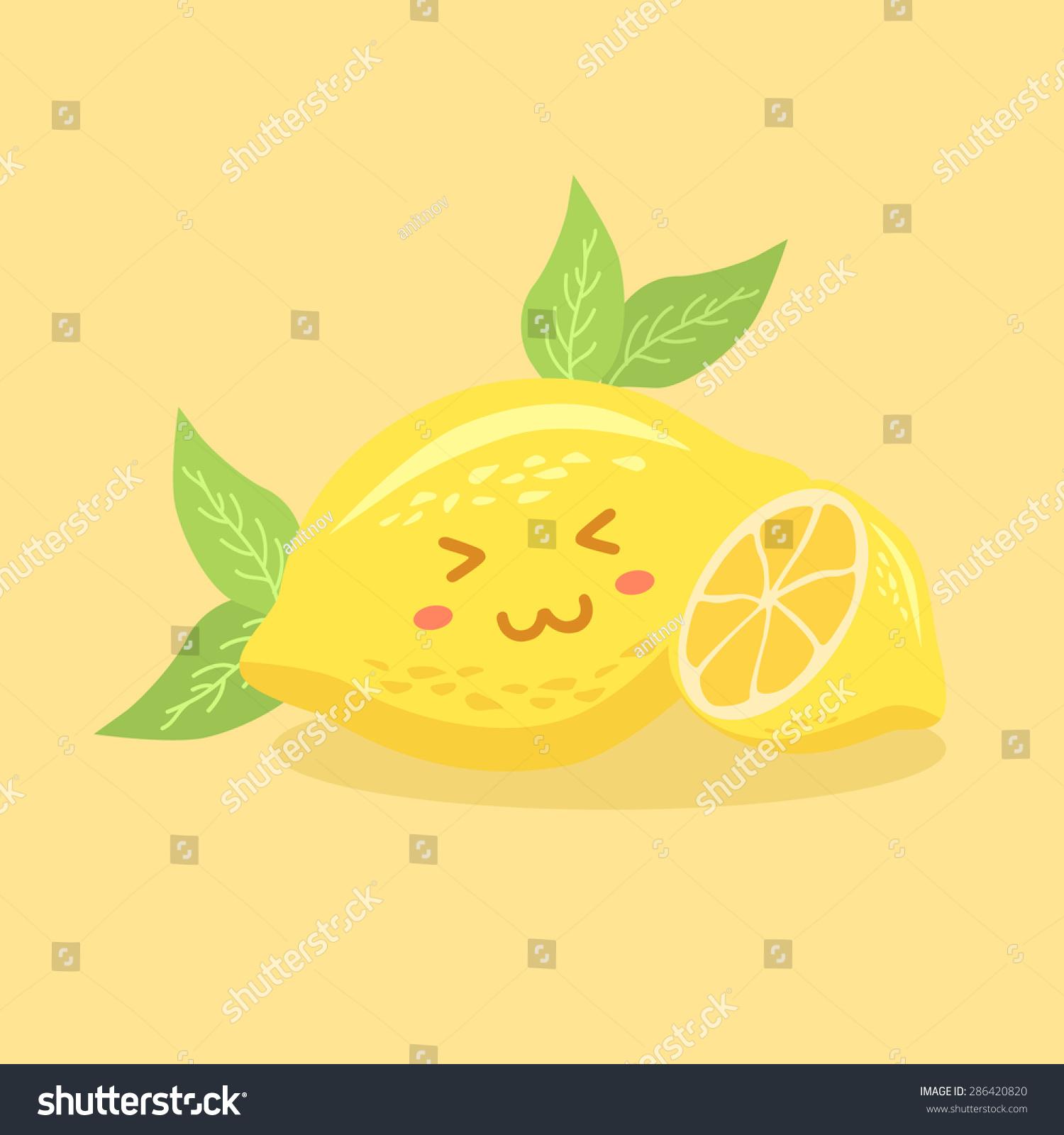 黄色背景下可爱的柠檬果吉祥物矢量图