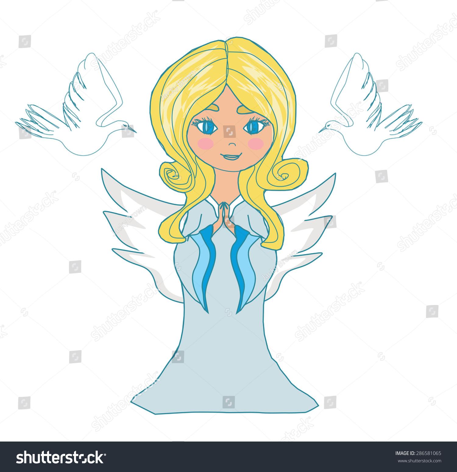 可爱的小女孩天使和两只斑鸠-动物/野生生物