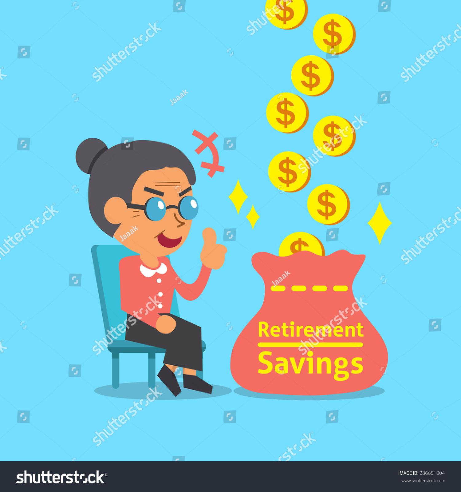 卡通老太太退休储蓄袋