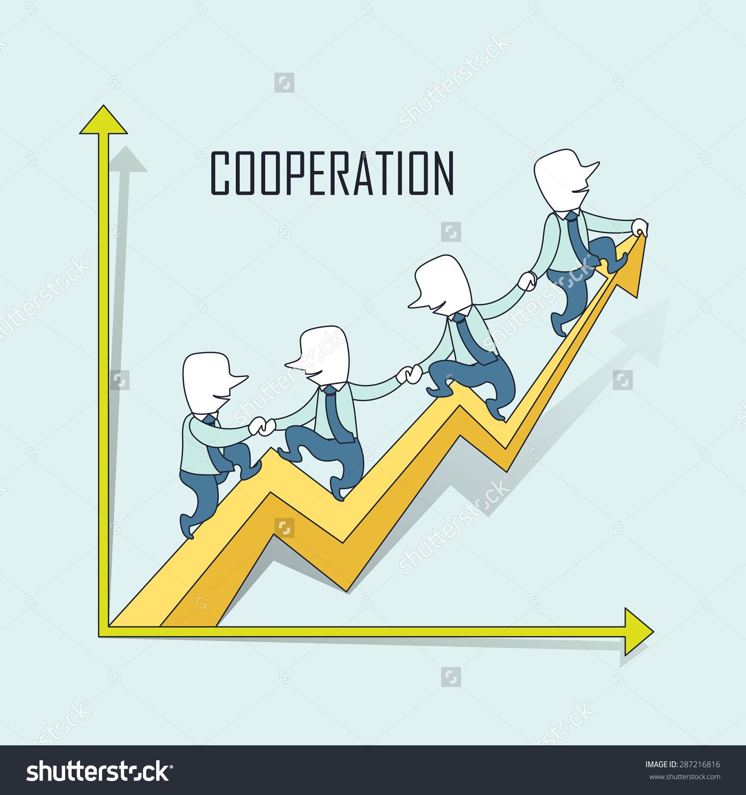 合作理念:商人骑着成长的箭头样式一致