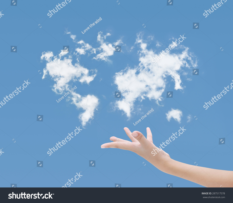 手,蓝色的天空云层地图-建筑物/地标,商业/金融-海洛