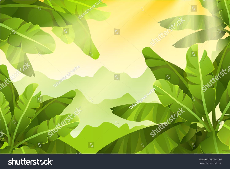 手绘热带花卉绿色树叶