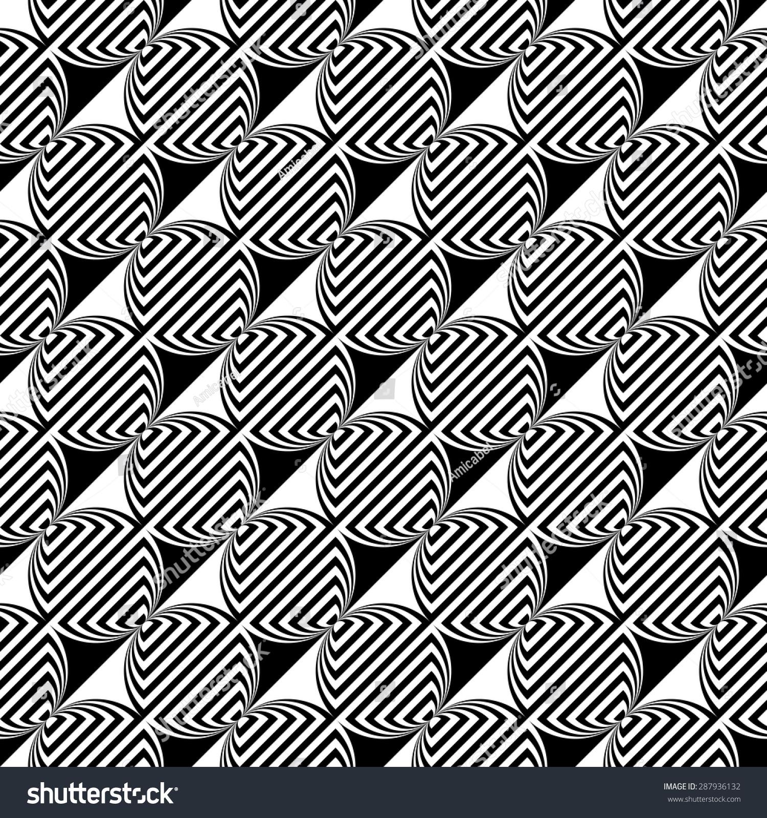 设计无缝单色椭圆几何模式.抽象条纹背景.矢量艺术.没