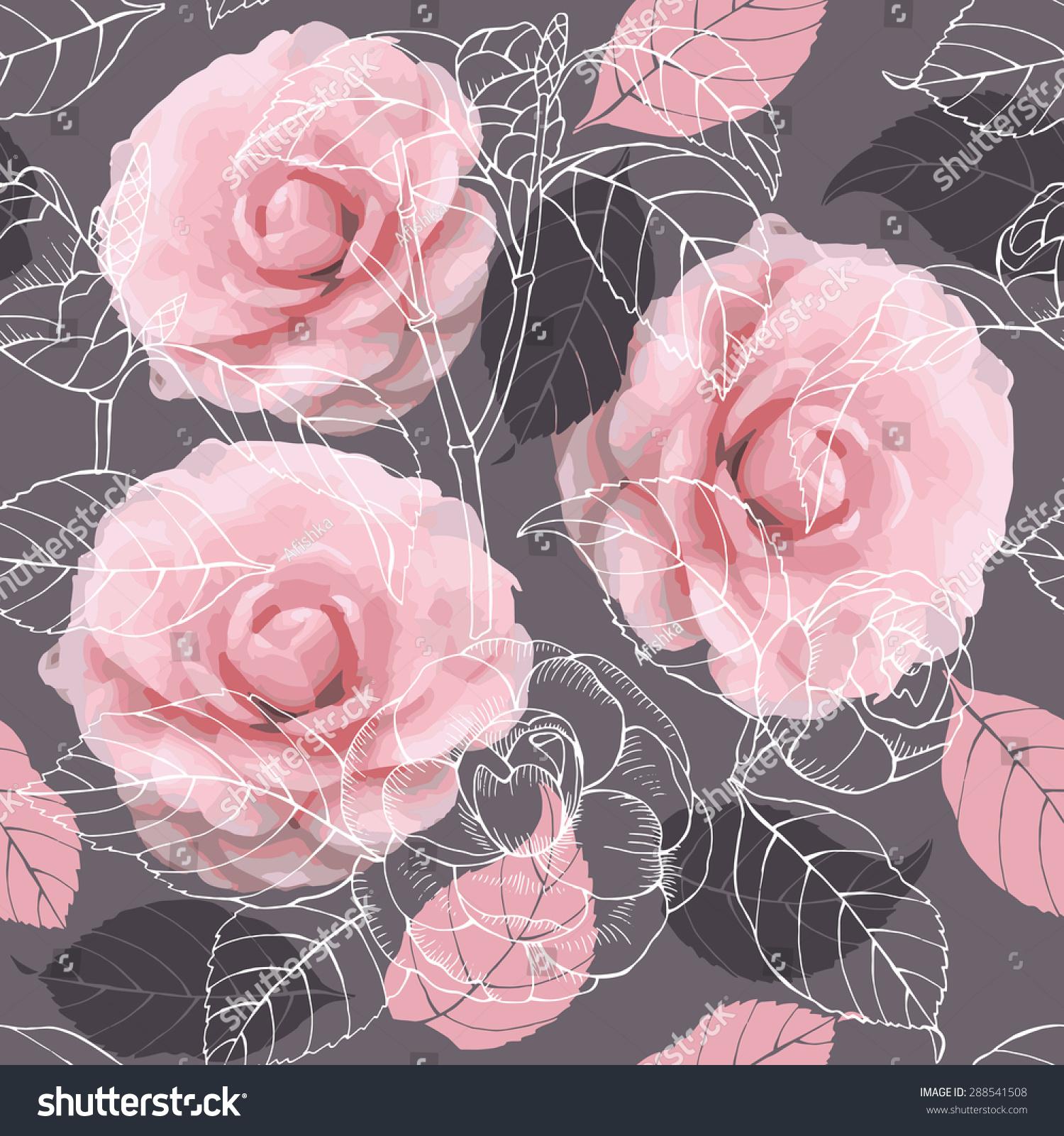 无缝的花卉图案与山茶花的形象.矢量插图