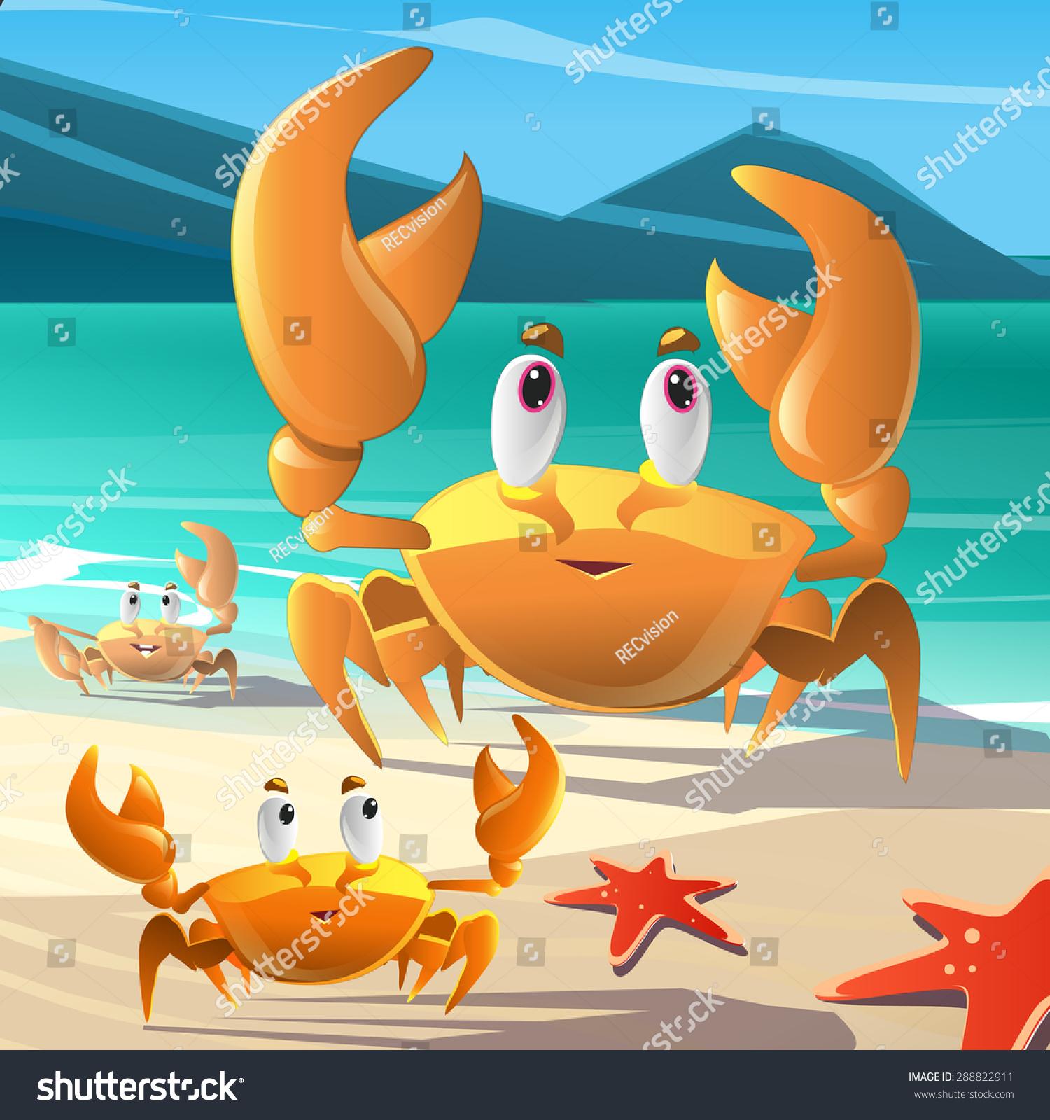 海边的卡通蟹-动物/野生生物,自然-海洛创意(hellorf)
