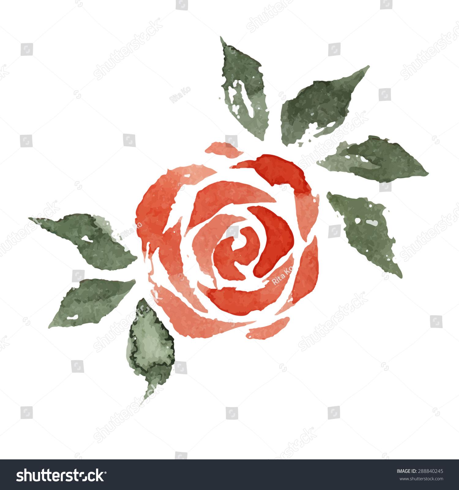 水彩花,红玫瑰,手绘插图