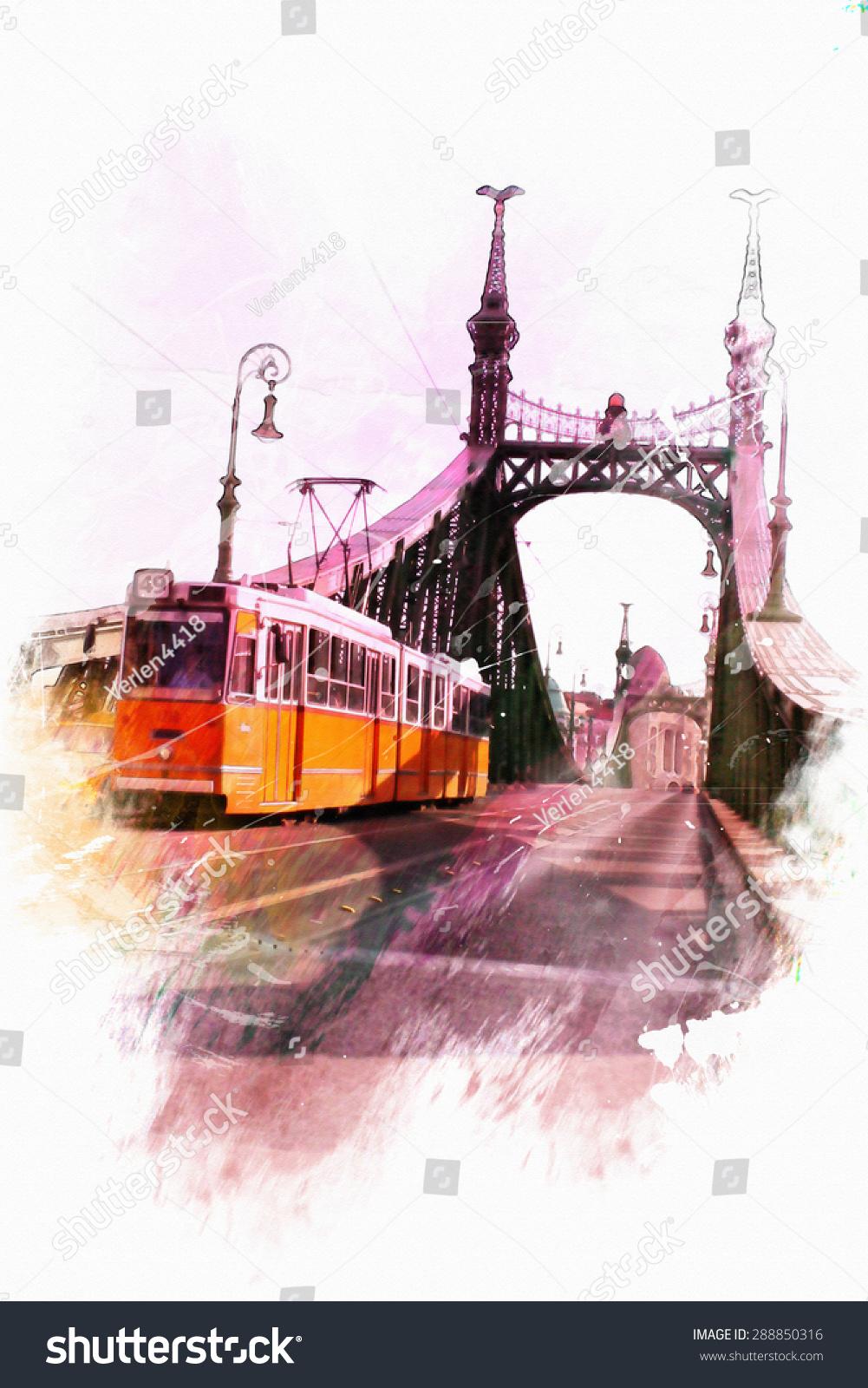 水彩插图布达佩斯.自由桥视图-建筑物/地标,背景/素材