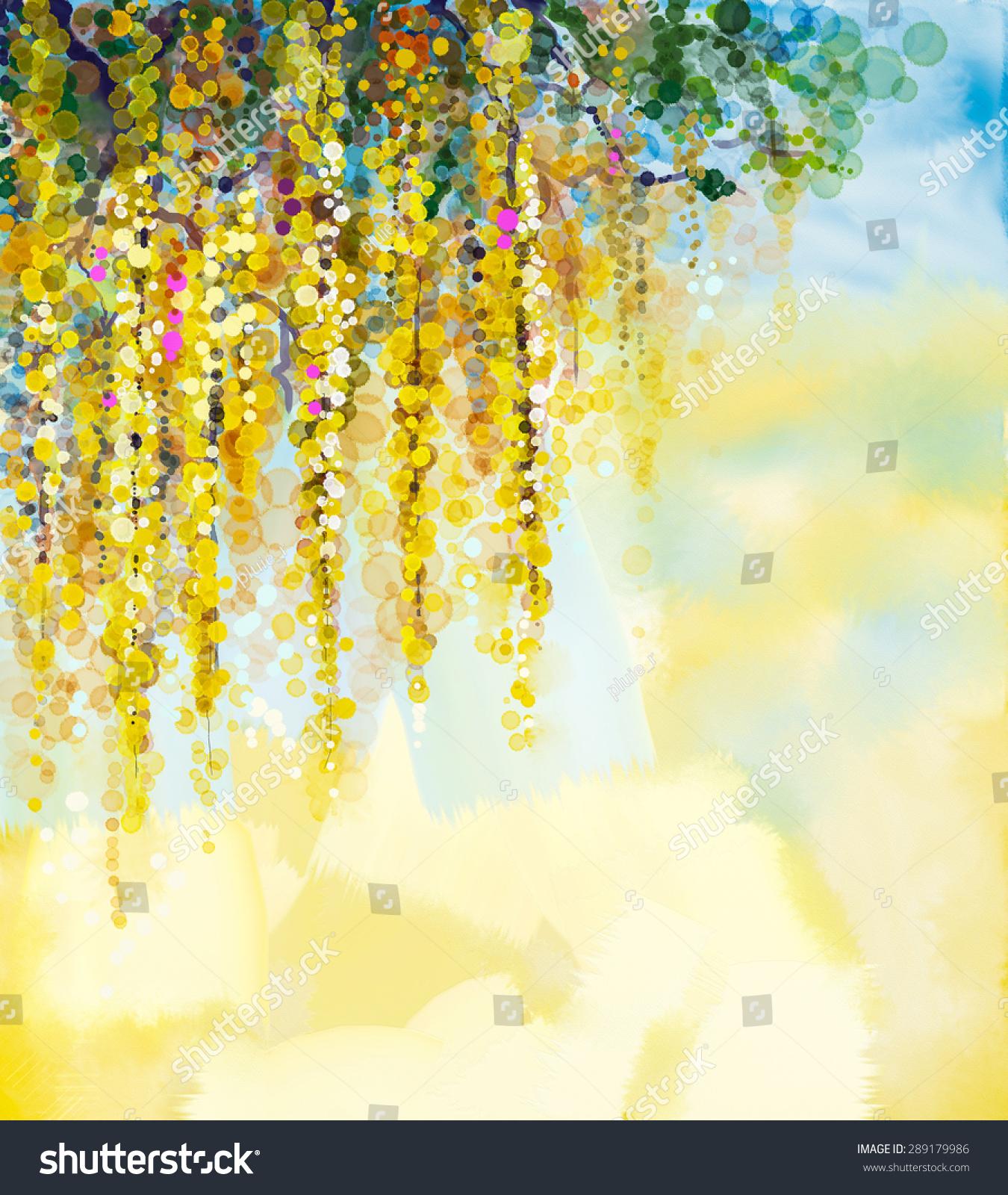 花水彩画.春天的黄色的花