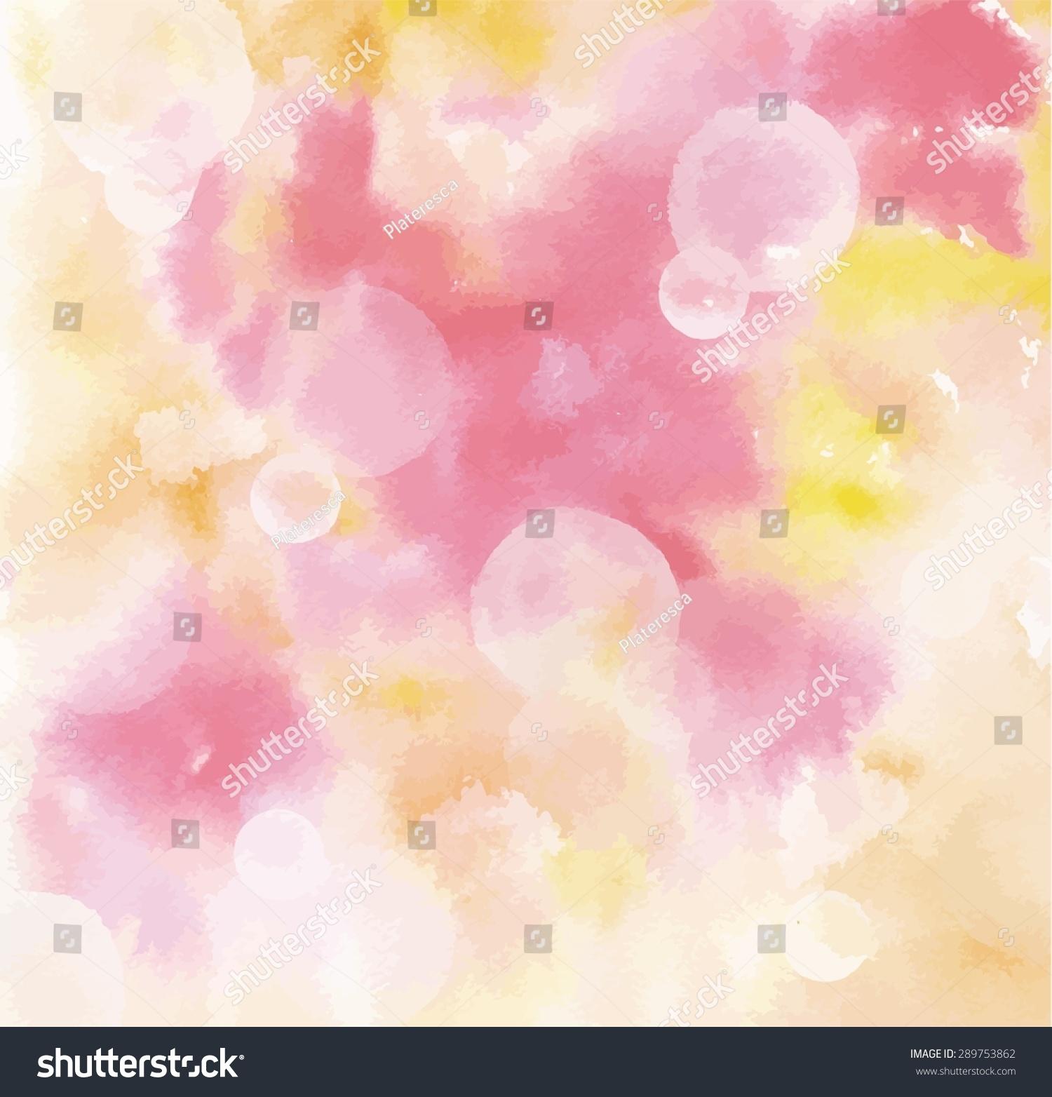 抽象的粉红色和黄色水彩背景纹理与散景,可缩放矢量