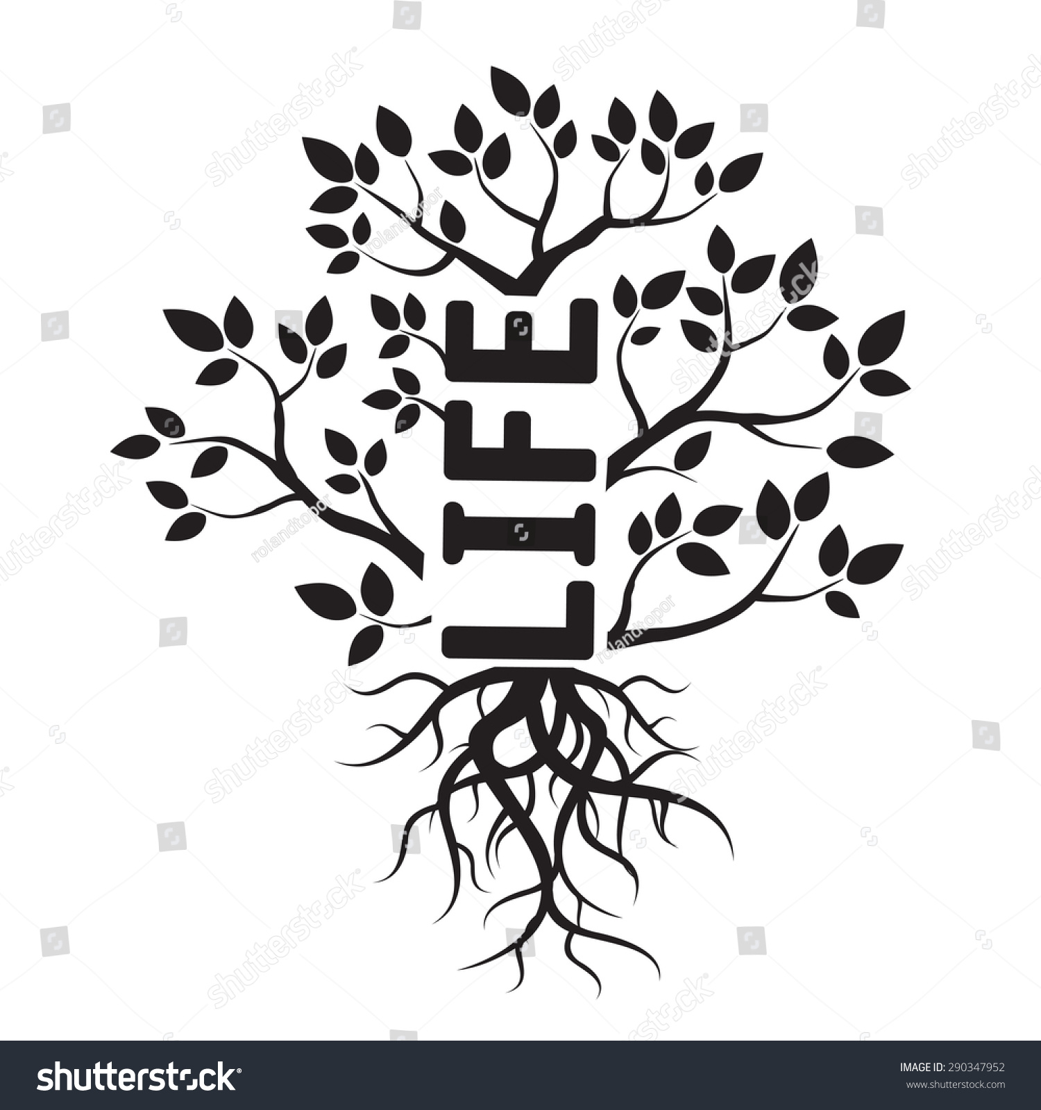 黑色向量树,树叶,树根和文本的生活-符号/标志,其它