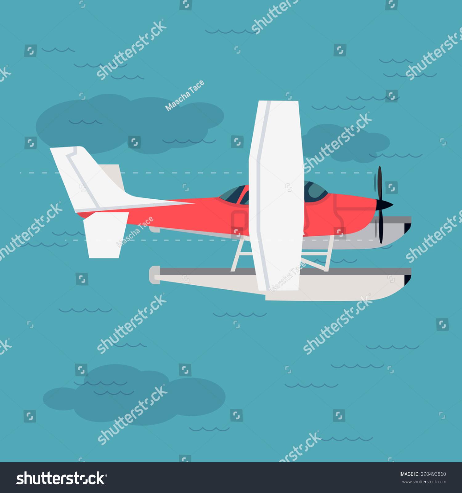 很酷的平面设计航空插图与小型两栖动物螺旋桨单引擎固定翼水上飞机