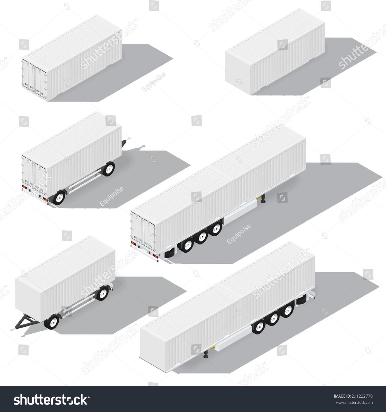 集装箱和拖车等距详细图标矢量图解说明-交通运输