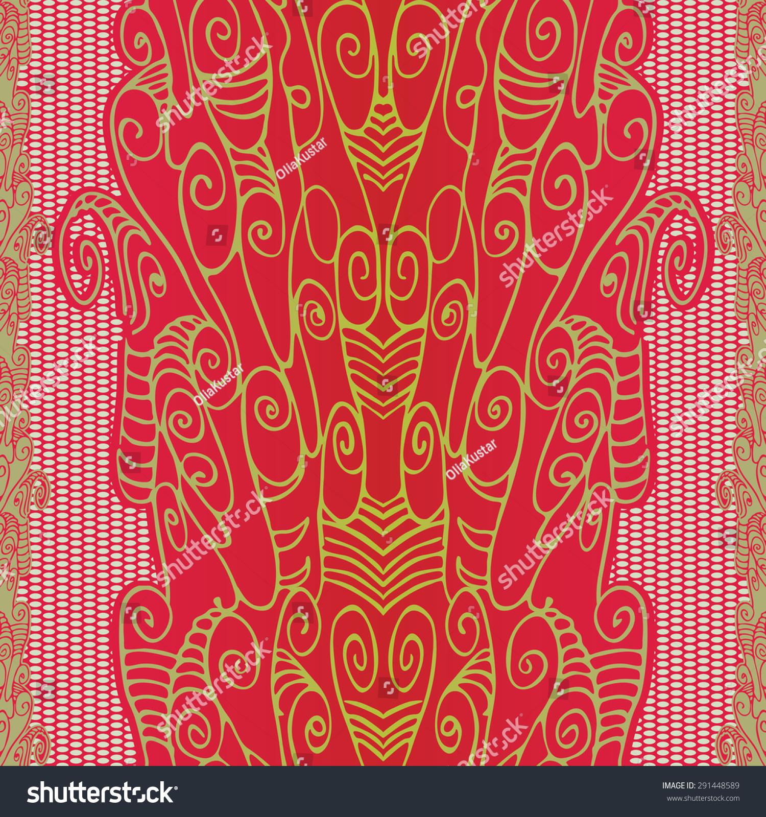 花边无缝模式网格.抽象的线条画螺旋-背景/素材,抽象