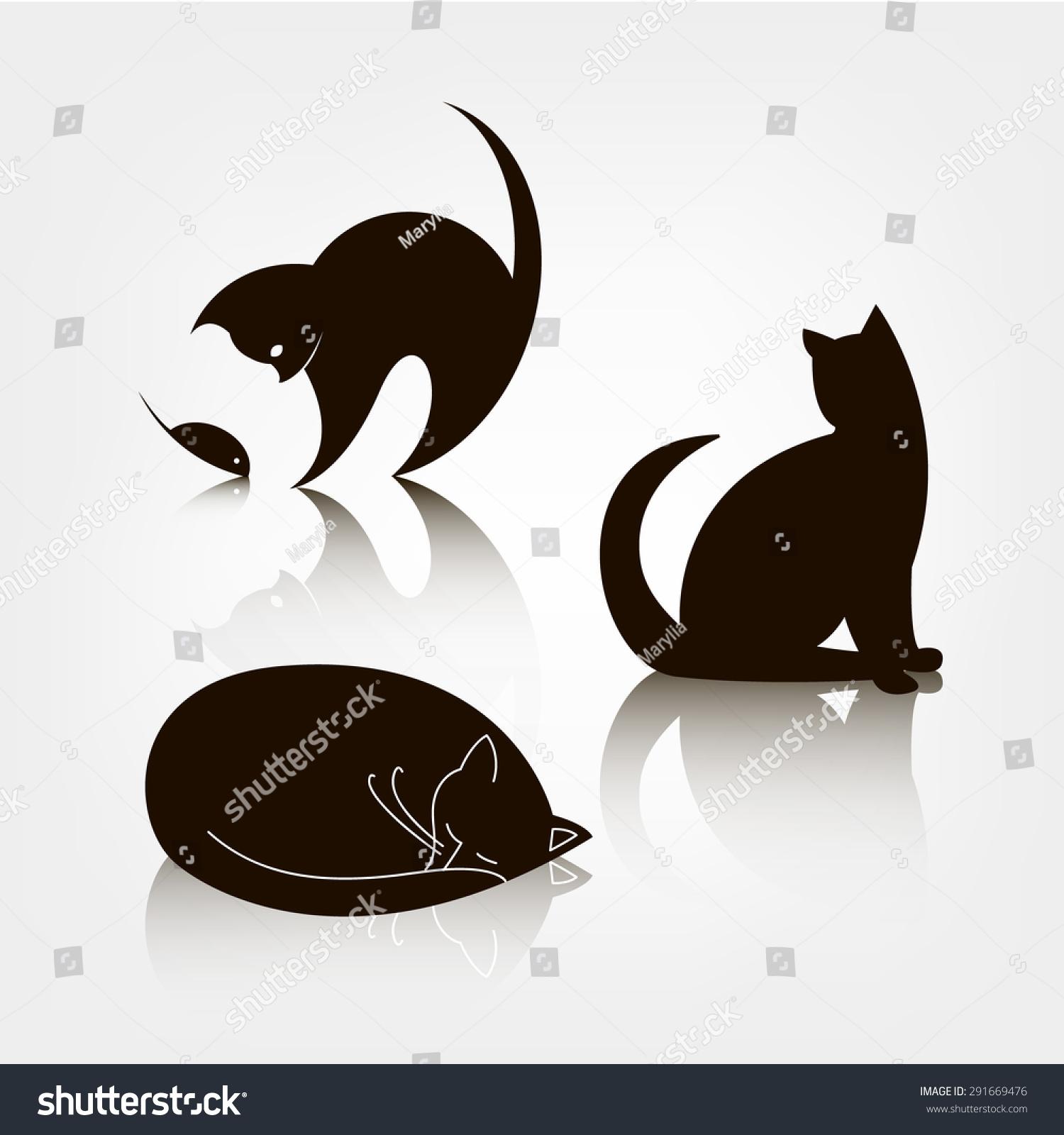 向量组的黑色剪影猫图标,标志模板.猫玩老鼠,猫,睡觉.