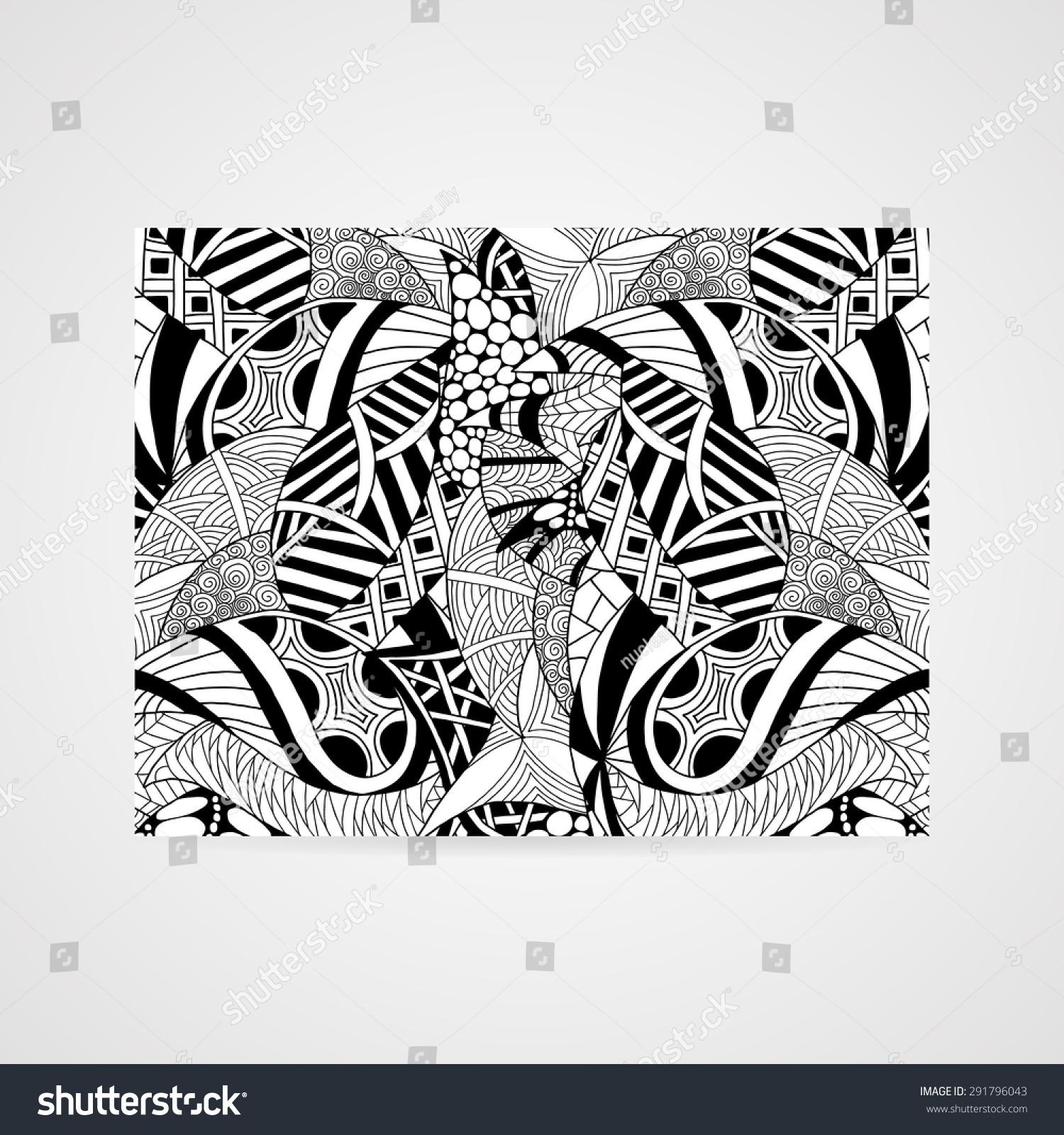 抽象的手绘图案.矢量插图在黑色和白色的颜色图片