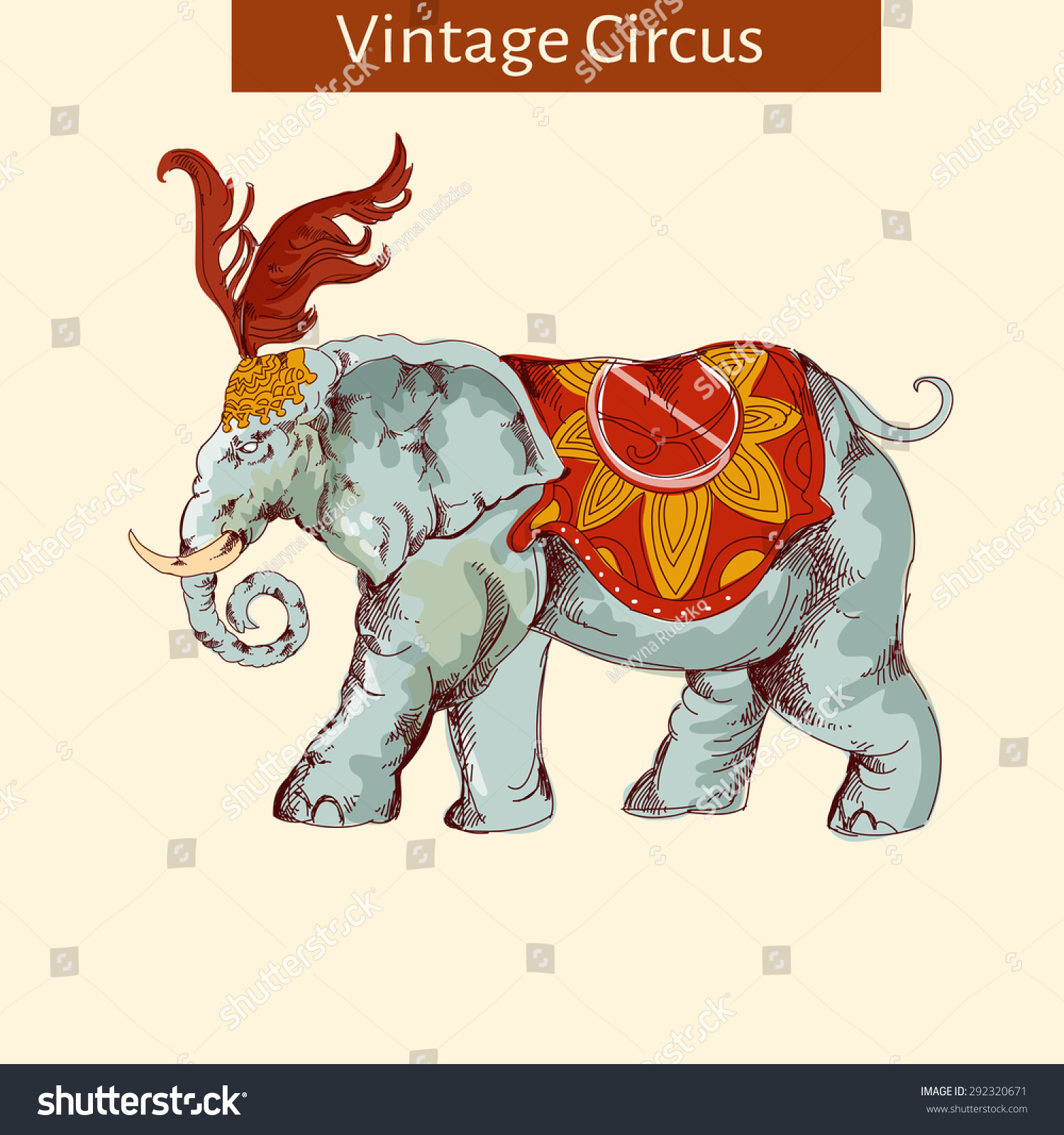 向量的马戏团大象手绘孤立