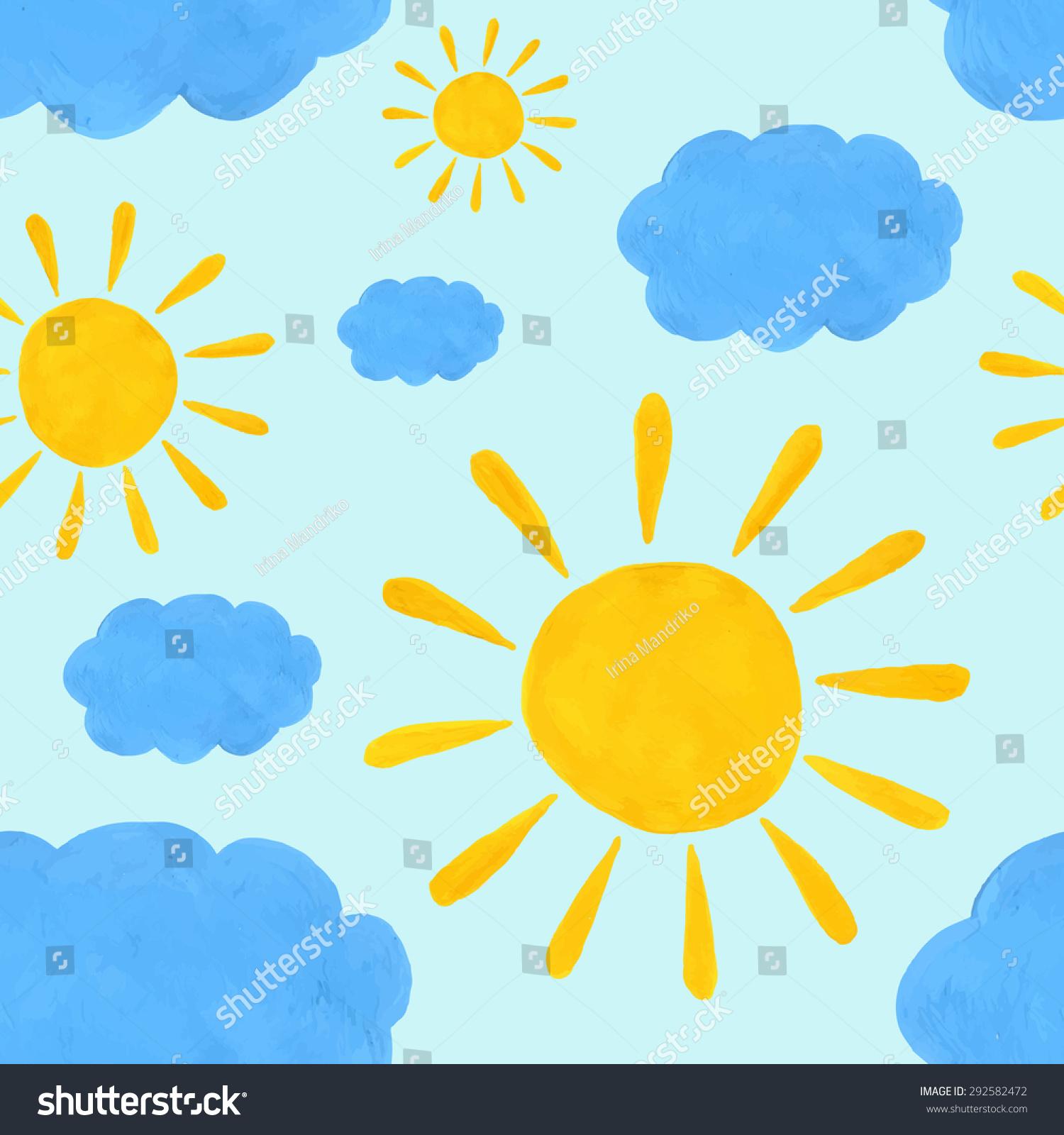 无缝模式水彩太阳和云-背景/素材,自然-海洛创意()-合
