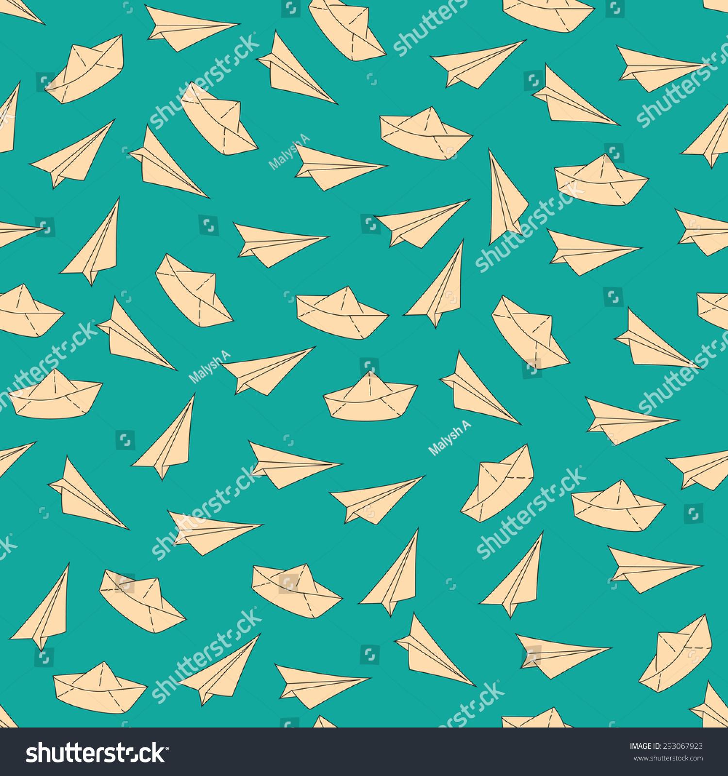 图案的纸飞机和轮船,无缝模式-背景/素材,抽象-海洛()