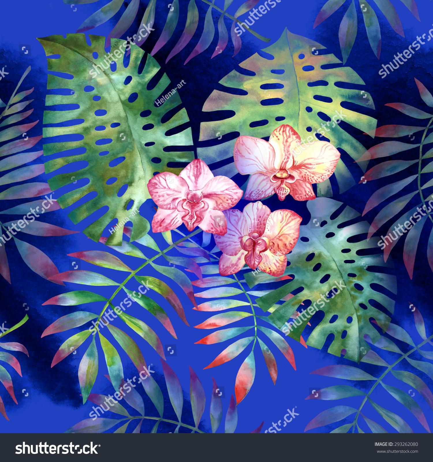 手绘热带花卉.无缝模式
