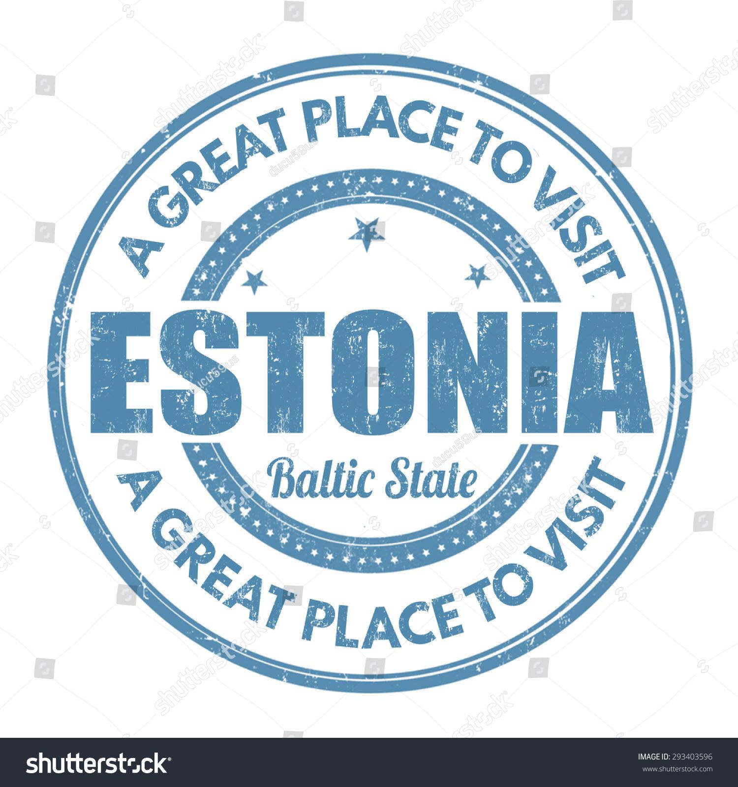 爱沙尼亚垃圾橡皮图章在白色背景矢量图-建筑物/地标