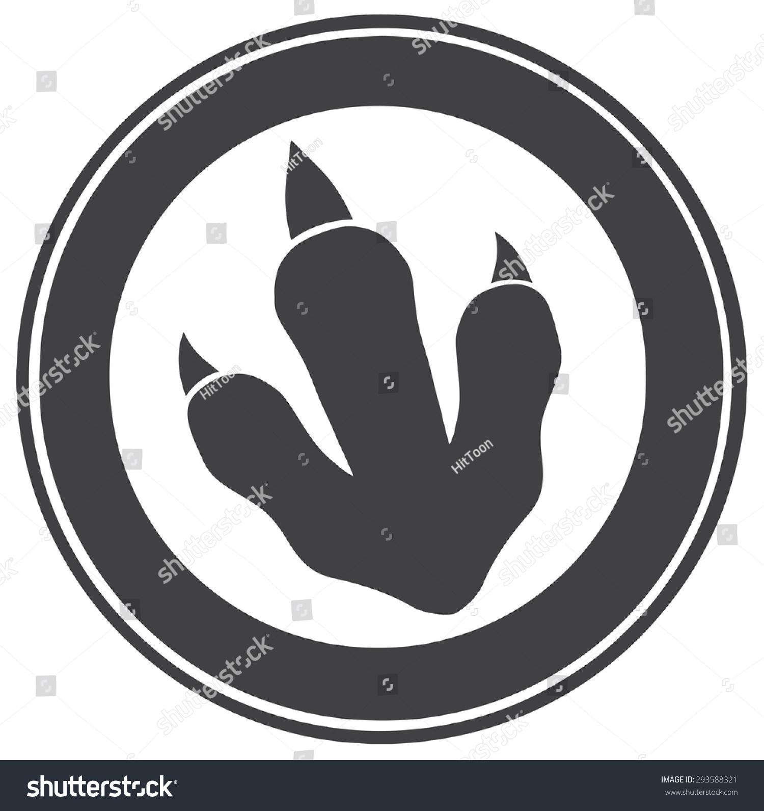 恐龙爪子印圆标签设计.光栅图-动物/野生生物,符号