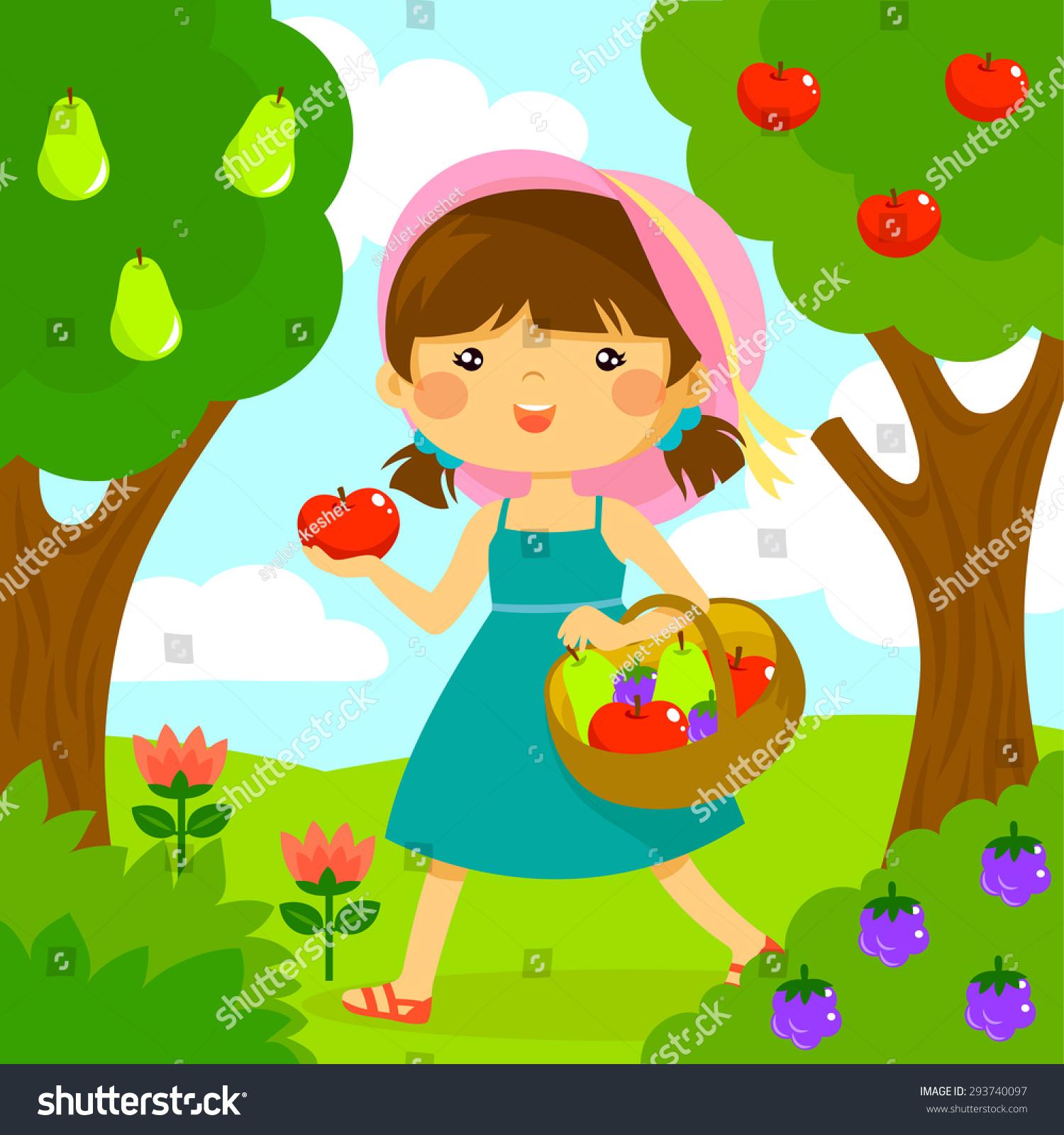 可爱的小女孩在果园里摘水果-人物