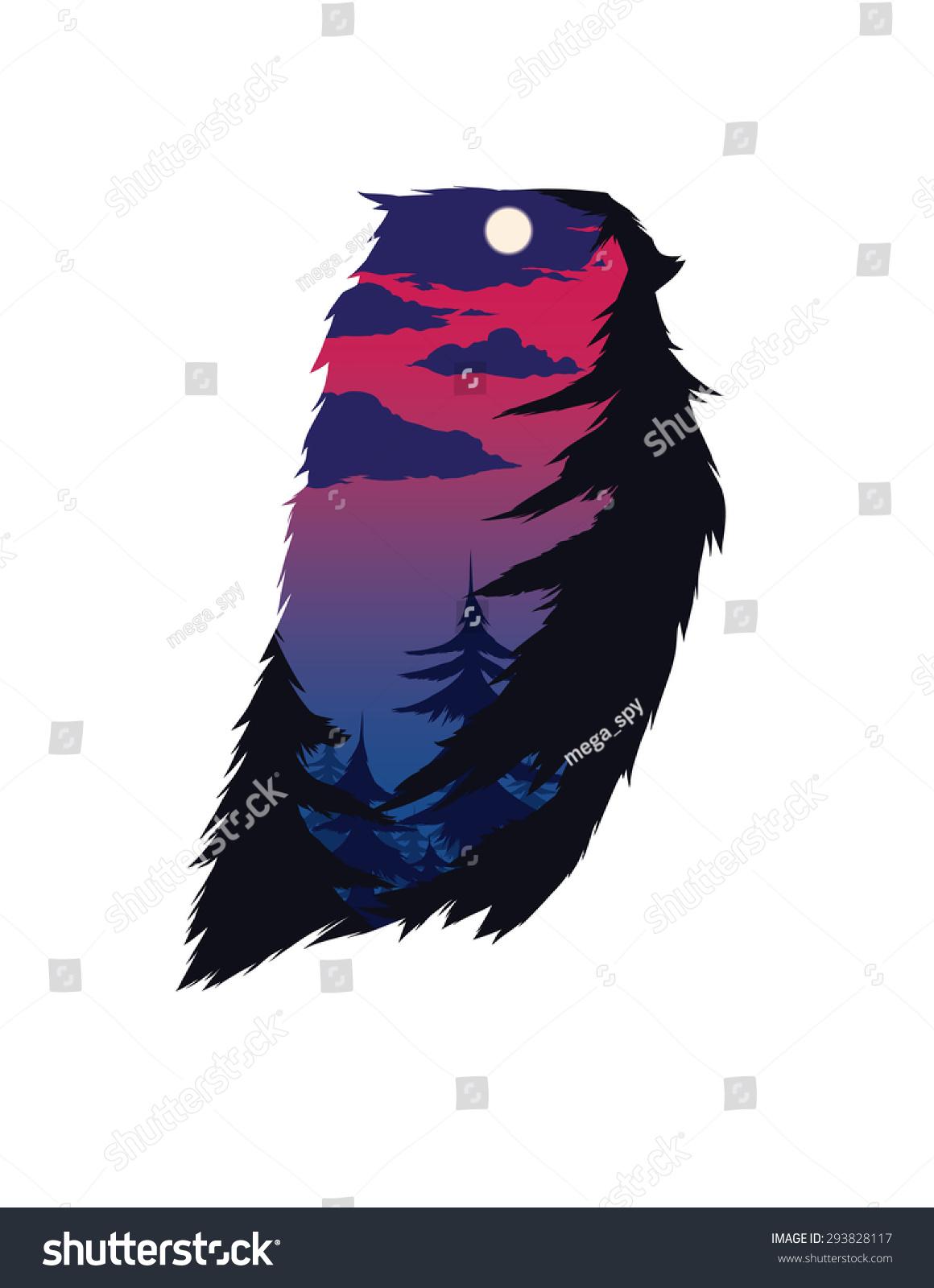 双曝光猫头鹰剪影矢量图