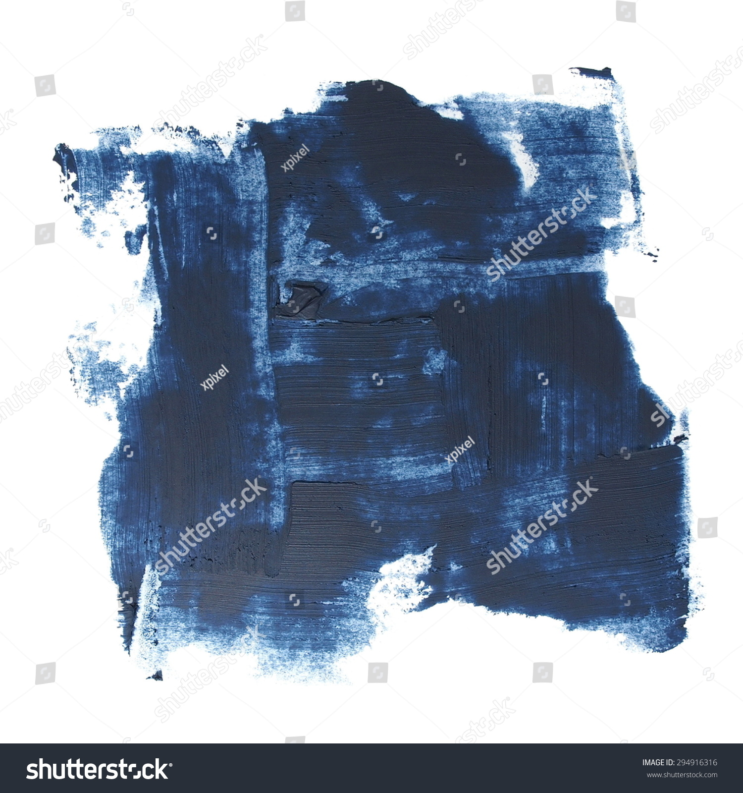 照片蓝色垃圾笔触油漆孤立在白色背景-背景/素材,抽象