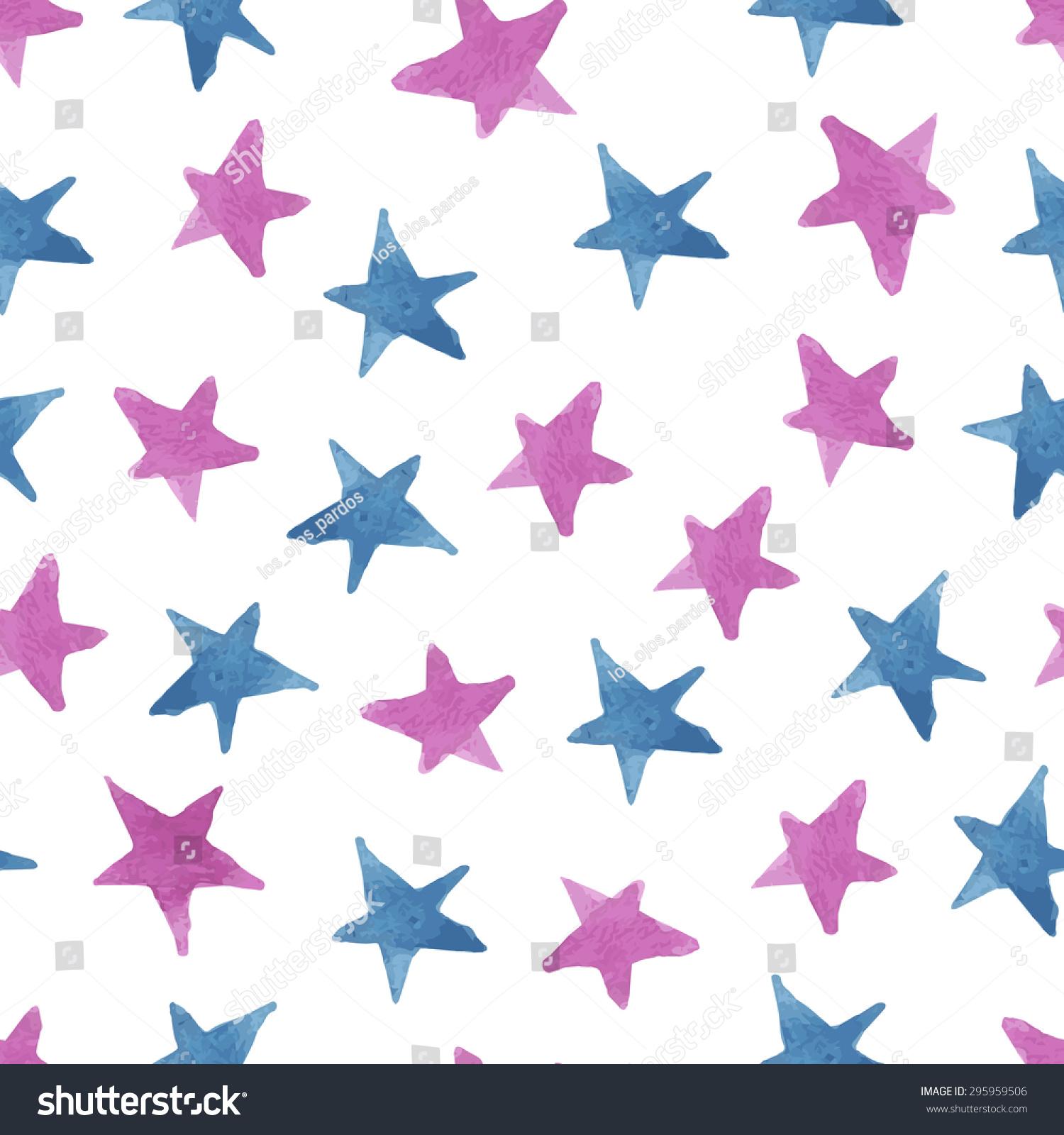 向量无缝模式的画面可爱的手画水彩的星星-背景/素材