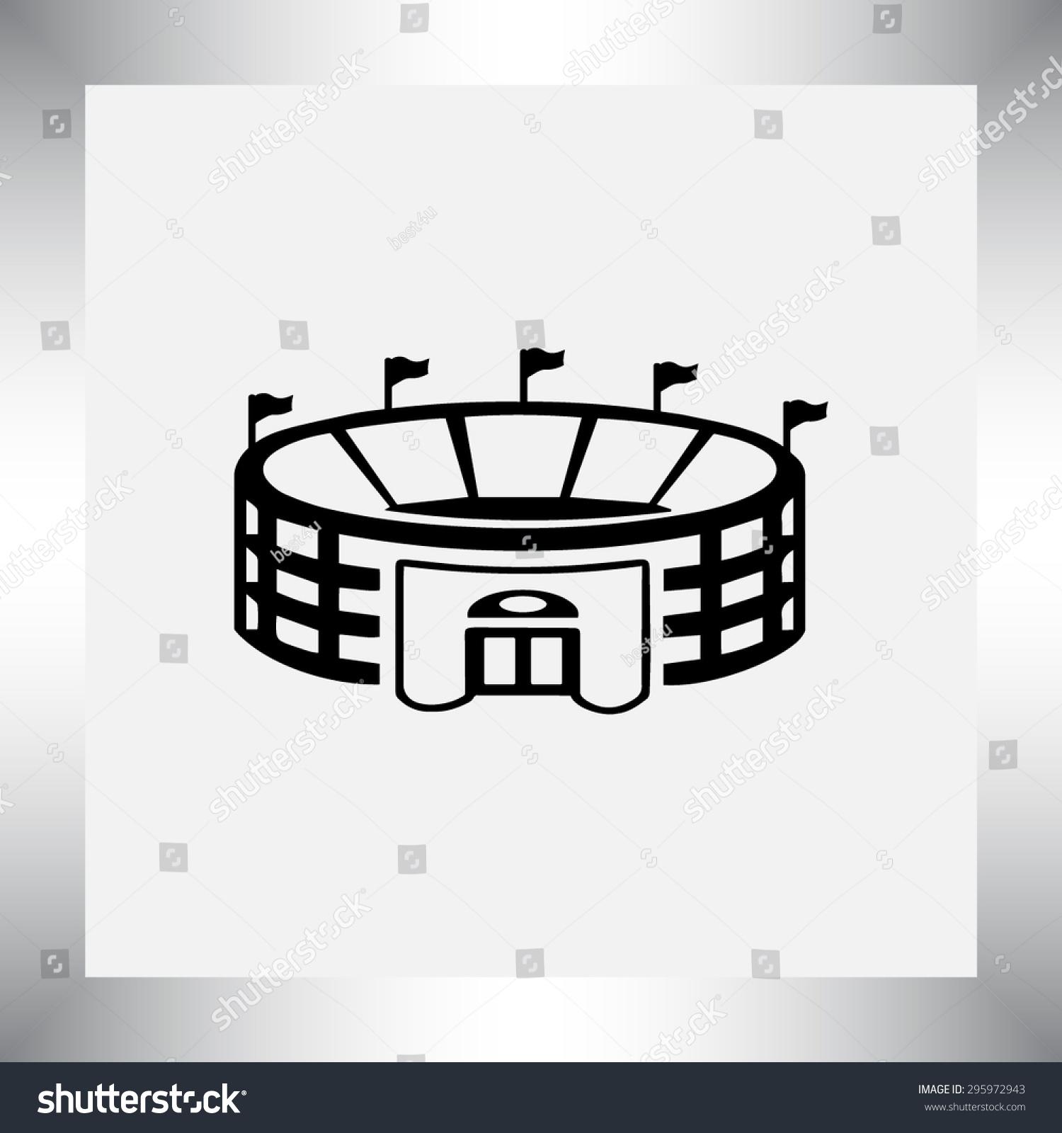 体育场标志图标,矢量图.平面设计风格-科技,符号/标志