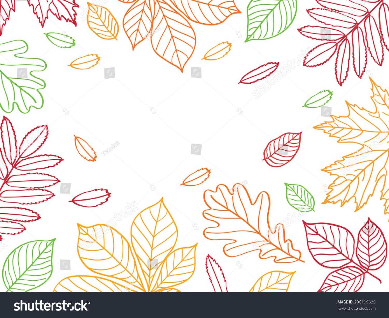 秋叶之静美.草图,设计元素.孤立在白色的.图片