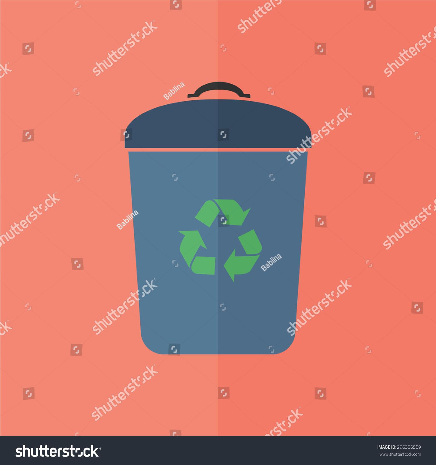 垃圾桶矢量图标.平面设计