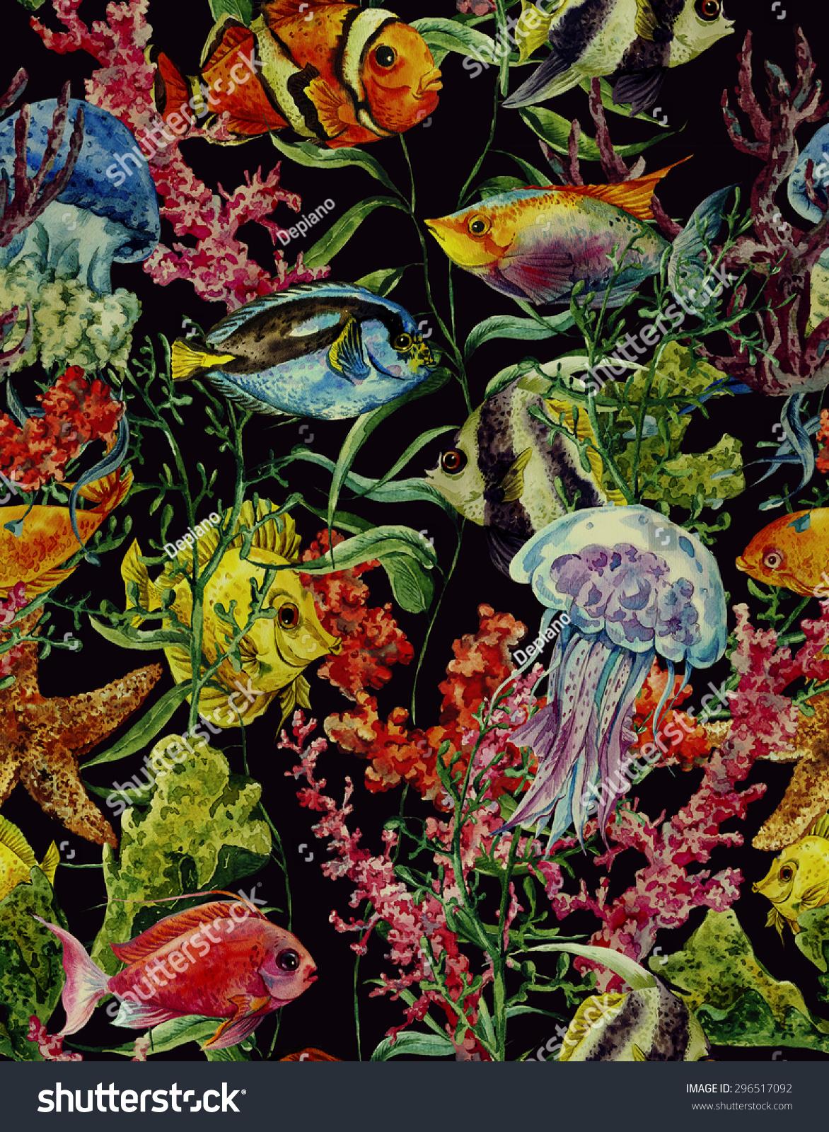 水彩海洋生物无缝模式在一个黑色背景,水下水彩插图