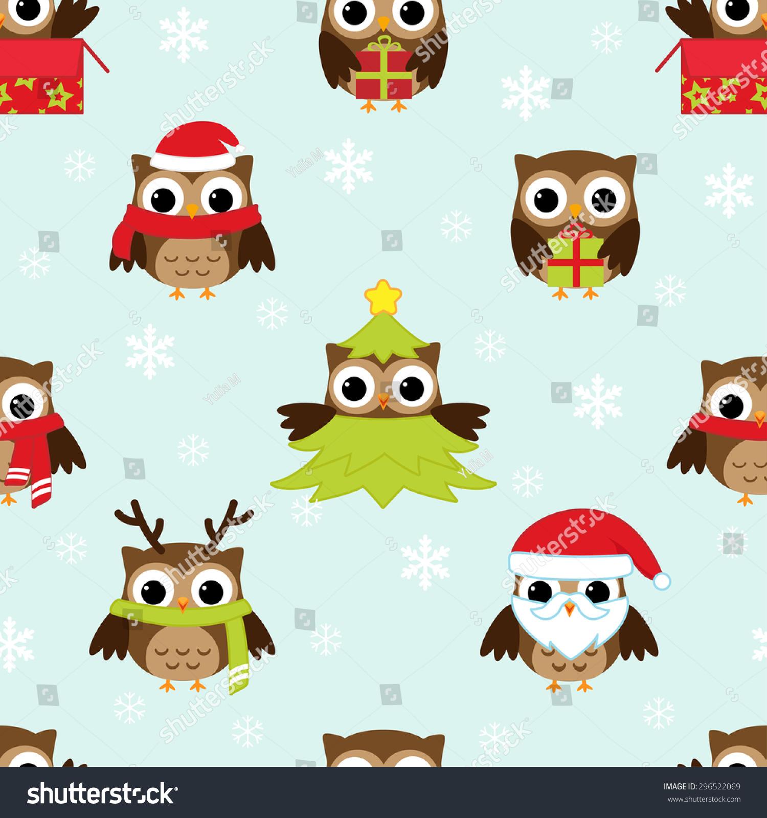 圣诞节和新年的模式与猫头鹰有趣的服装.光栅版-动物