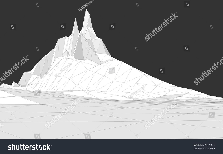 矢量图的三维线框景观组成的三角形的多边形-自然,-()