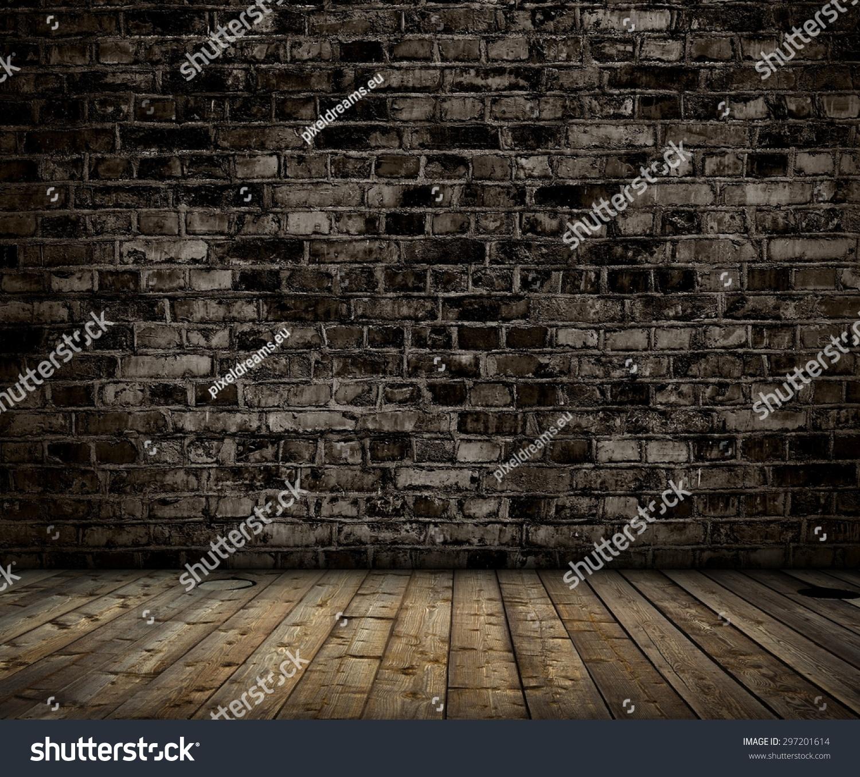 室内用砖灰墙和木地板的背景-背景/素材
