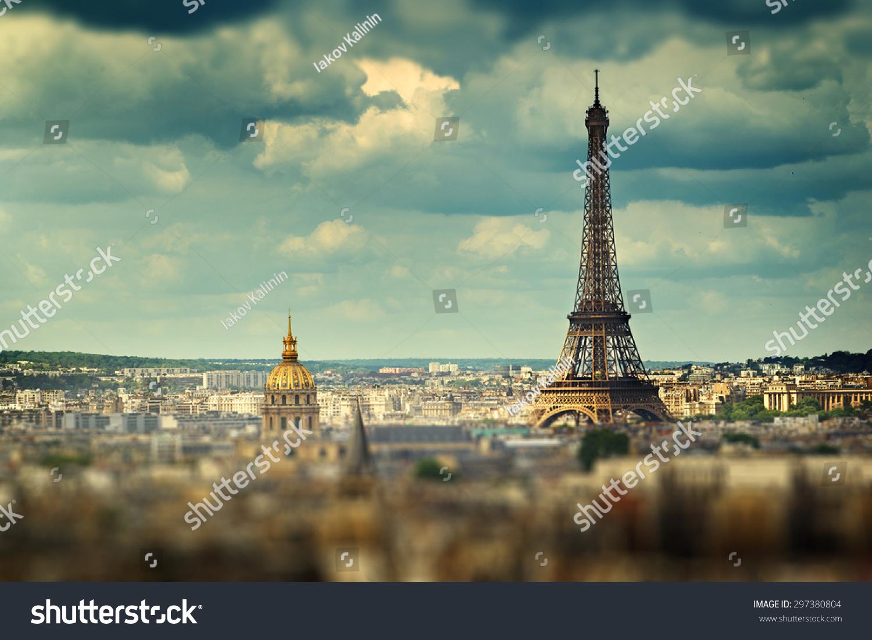 埃菲尔铁塔(倾斜移效应),巴黎,法国-建筑物/地标,公园